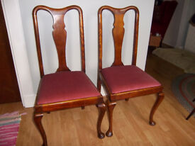 2 genuine Edwardian Queen Anne chairs