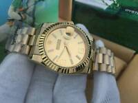 New Swiss Men's Rolex Datejust Perpetual Automatic Watch, Champagne Dial