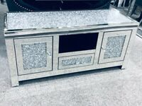 Mokka Crushed Diamond Top Medium TV Unit 120 CM BRAND NEW