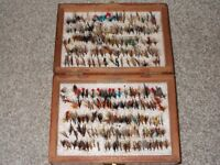 approx 500 wet and dry flies in a double sided wooden box