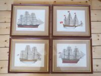 Set of 4 high quality framed ship prints. Cutty Sark, Sovereign of the Seas, Gloucester, HMS Victory