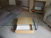 Glass Coffee Table with Wooden Drawer