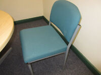 GREEN/TEAL COLOURED OFFICE/MEETING/RECEPTION CHAIRS X 3 AVAILABLE
