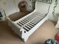Single 3ft Bed - White Painted Solid Mahogany - Claudette Range.