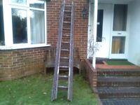 Wooden extending ladders x 3