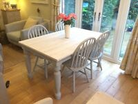 Rustic Painted Farmhouse Table & Chairs