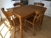 Pine Kitchen/Dining Table and 4 Chairs