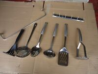 Set of stainless kitchen utensils