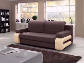 SOFA BED 3 SEATER FAUX LEATHER + FABRIC CUSHION COVER + STORAGE sofabed