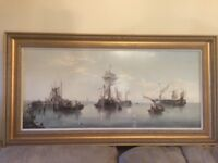 Large framed coloured picture