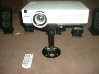 SANYO PLC-WXU300 LCD Projector, with logitec speakers, surround sound