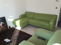 Lime green DFS corner sofa and armchairs