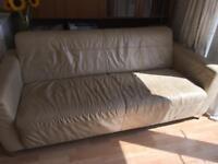 Cream leather sofa & foot-on