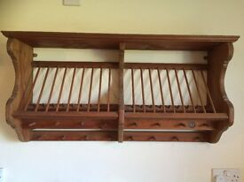 Hand made pine plate rack with lovely details.