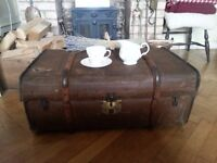 Antique Vintage Liposta Dresden steamer travel trunk ottoman coffee table blanket storage box chest