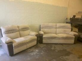 SCS FABRIC SOFA SET 3 SEATER ELECTRIC RECLINER + 2 SEATER