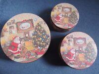 Set of three Christmas design cake or storage tins