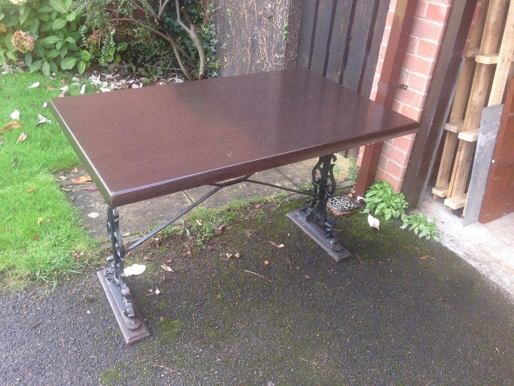 Table / bar table / pub table heavy iron / dark oak