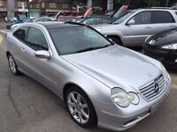2004/04 MERCEDES-BENZ C 180 KOMPRESSOR SE 2 DOOR COUPE AUTOMATIC SILVER,LOW MILEAGE GOOD SPEC