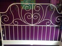 Decorative King-size White Bed Frame (no mattress)