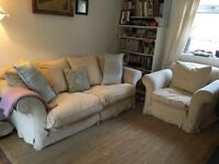 Gorgeous cream comfy SOFA and Armchair
