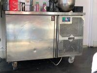 Deli kitchen blast chiller with stainless steel prep bench top