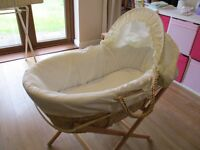 BABY PADDED MOSES BASKET WITH HOOD, MATTRESS AND STAND