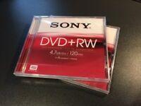 2 x Sony DVD+RW BRAND NEW in plastic wrap