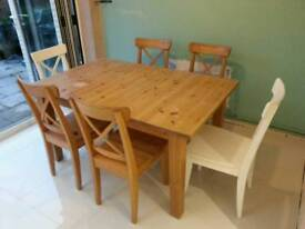 Ikea extendable kitchen table and four chairs.