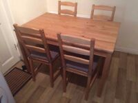 Ikea Jokkmokk 4 seater dining table and chairs with cusions- very good condition