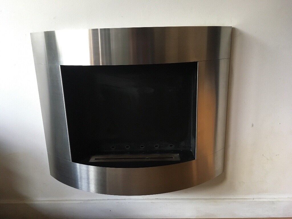 Bio fire wall mounted brushed steel - excellent condition