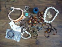 Costume jewellery Job Lot Necklaces Earrings Bracelets Used