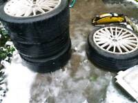 Four VW Caddy wheels and tyres