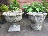 Vintage cast stone planters