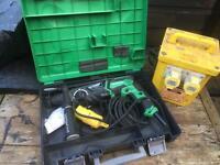 Hitachi 110 sds hammer drill and 110 volt transformer