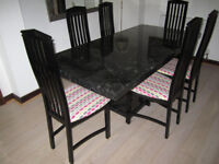 Marble Dining Table (6' x 3') & 6 Chairs all in Excellent Condition.