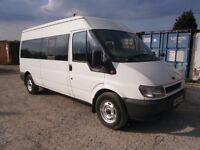 Ford Transit 2.4 Minibus 11 Seater 2002. 1 OWNER, WHITE , MOT, TACHO