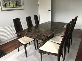 Solid marble dining table with 6 chairs