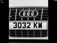 3032 KW dateless private cherished number plate registration number no date prefix