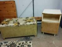 "Vintage Lloyd Loom Storage Hamper/""Blanket Box & Bedside. Upcycle ?"