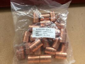 Bag of 25 x 22mm straight couplings (Endfeed - copper)