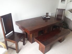 Custom made table, benches and chairs