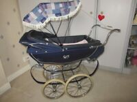 BARGAIN Lovely Rare Navy Vintage Silver Cross Doll's Pram with Extra's