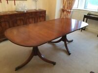 Polished hardwood dining room suite (no chairs) in lovely condition.