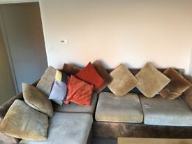 Corner sofa with foot rest and pull out sofa bed