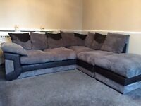 Grey Jumbo Cord Scatter Back Corner Sofa