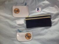 BNWT American Apparel cotton rigid corduroy pencil case and 2x leather coin cases. Made in USA
