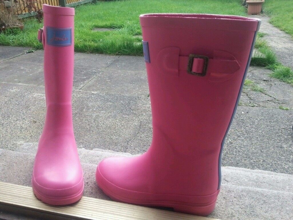 Joules Pink Posh Wellies Wellington Boots UK 1 VGC review pictures !