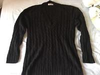 Black V-neck cable knit Jumper