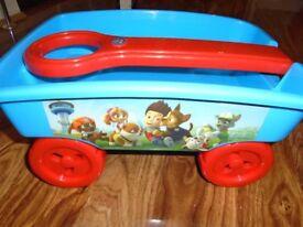 Paw Patrol Kiddies Storage Trolley With Pull Handle